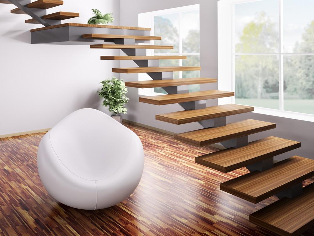 Escalier autoportant en 3D dans un intérieur design.